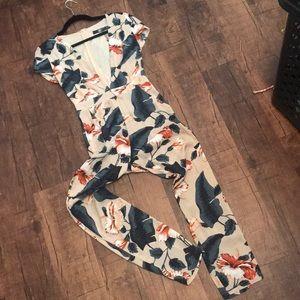Tropical Floral Print Jumpsuit w/plunge neckline